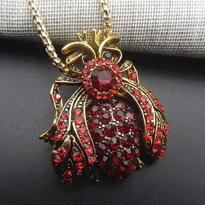 Jewelry - Red Crystal Ladybug Bee Insect Pendant Necklace